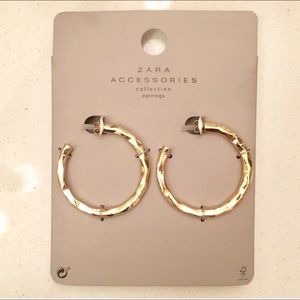 "NWT Zara Gold 2"" Hoops Earrings - Textured."